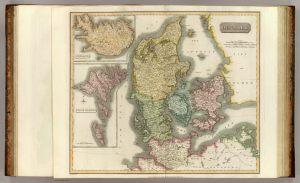 Grabado de un mapa de Dinamarca.